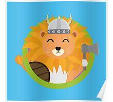 Viking lion with circle Poster
