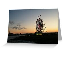 February Jersey City, New Jersey, Classic Colgate Clock at Sunset  Greeting Card