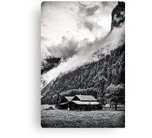 A Layer of Morning Fog- Gimmelwald, Switzerland Canvas Print