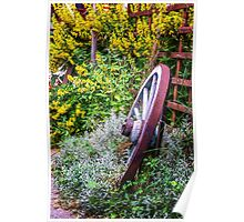 Wagon Wheel in Flowers- Gimmelwald, Switzerland Poster