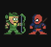 8-bit Green Arrow & Deathstroke Baby Tee