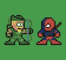 8-bit Green Arrow & Deathstroke One Piece - Short Sleeve