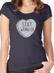 STAY WEIRD-ER candy heart with a matching STAY WEIRD in pink Women's Fitted Scoop T-Shirt