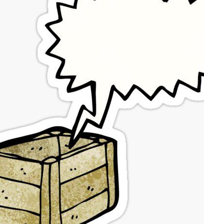 cartoon empty wooden crate Sticker