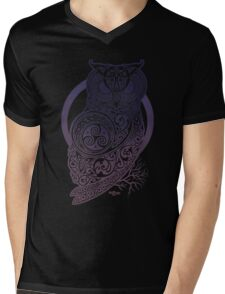 Celtic Owl Mens V-Neck T-Shirt