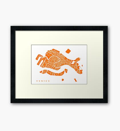 Venice Map (Orange) Framed Print