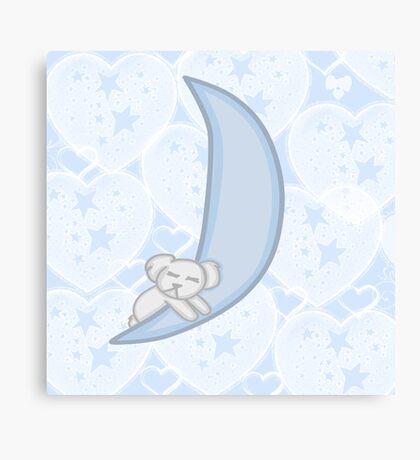 Kawaii Koala on a moon Canvas Print