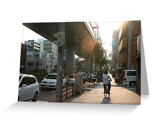 Bicyclist in Nagoya, Japan Greeting Card