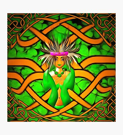 The Goddess Morrigan in a Celtic knot Photographic Print