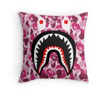bape camo red shark Throw Pillow