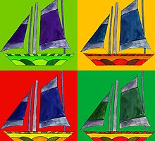 sailboat bright color by sriknick