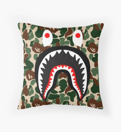 bape camo army shark Throw Pillow