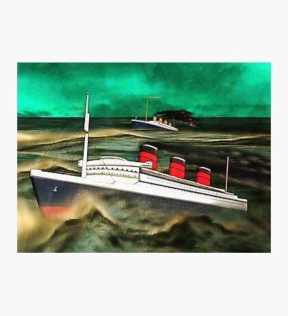 RMS Queen Mary and RMS Titanic Photographic Print