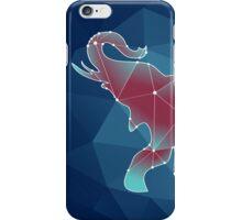 polygonal contour elephant on a blue background iPhone Case/Skin