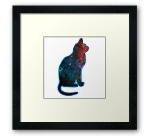 Space cat, Universe, Kosmos, Galaxy, Star Framed Print