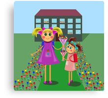 little girls going to school with bouquets of flowers Canvas Print