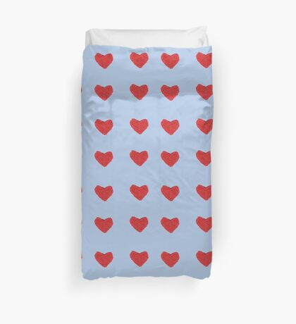 Red Knitted Heart - Pale Blue Version Duvet Cover