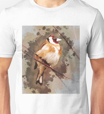 Orange and red bird on the branch Unisex T-Shirt