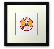 Baker Chef Cook Bust Front Circle Retro Framed Print
