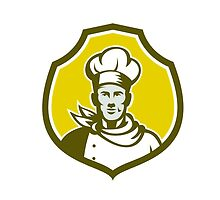 Baker Chef Cook Bust Front Shield Retro by patrimonio