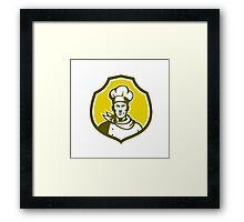 Baker Chef Cook Bust Front Shield Retro Framed Print