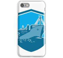Container Ship Cargo Boat Shield Retro iPhone Case/Skin