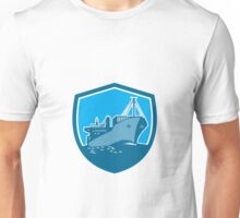 Container Ship Cargo Boat Shield Retro Unisex T-Shirt