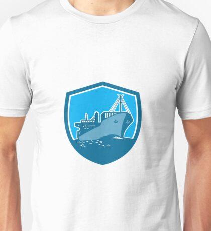 Container Ship Cargo Boat Shield Retro Unisex T-Shirt