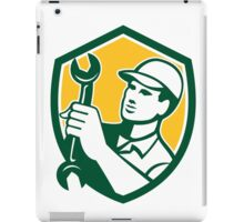 Mechanic Holding Spanner Wrench Shield Retro iPad Case/Skin