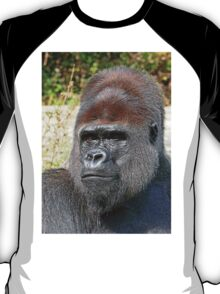 """An intimate portrait close-up 9 (c) (h) """"Back Silver"""" A gorilla who is the star of the day .... T-Shirt"""