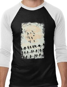 Birds on the wire Men's Baseball ¾ T-Shirt