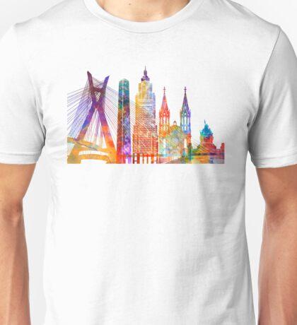 Sao Paulo landmarks watercolor poster Unisex T-Shirt