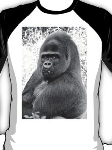 """An intimate portrait close-up 12 (n&b) (h) """"Back Silver"""" A gorilla who is the star of the day .... T-Shirt"""