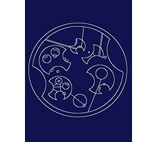 """I Don't Shave For Sherlock Holmes"" Circular Gallifreyan (White) Photographic Print"
