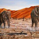 """Elephants - Namib Trek"" - oil painting by Avril Brand"