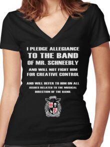 I PLEDGE ALLEGIANCE TO THE BAND MR SCHNEEBLY Women's Fitted V-Neck T-Shirt
