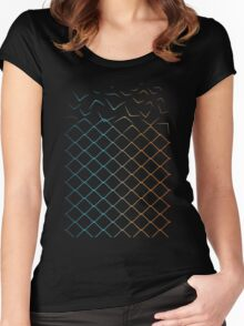 Colored geometric fence transforming to birds Women's Fitted Scoop T-Shirt