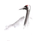 Japanese crane original painting, japanese artwork by Mariusz Szmerdt