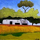 "Australian Backyard with Caravan by Belinda ""BillyLee"" NYE (Printmaker)"