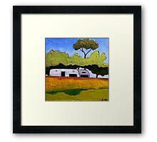 Australian Backyard with Caravan Framed Print