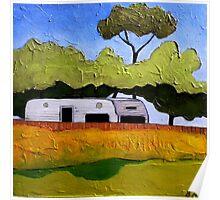 Australian Backyard with Caravan Poster