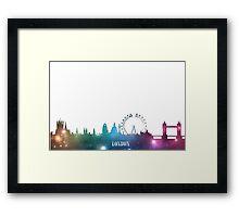 Purple & Blue London Skyline Framed Print