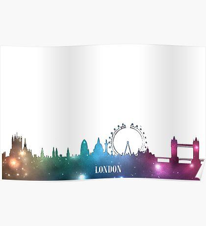 Purple & Blue London Skyline Poster
