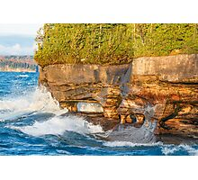 Sea Caves Pounded by Superior Waves Photographic Print