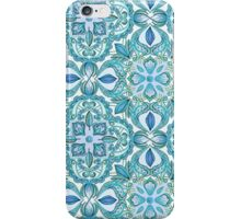 Colored Crayon Floral Pattern in Teal & White iPhone Case/Skin