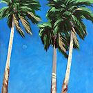 Daytime Moon - Palm Springs landscape  by LindaAppleArt