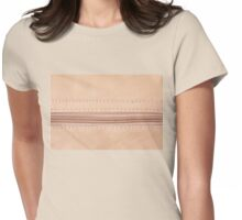 Beige zipper on leather cloth texture Womens Fitted T-Shirt