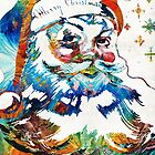 Colorful Santa Art by Sharon Cummings by Sharon Cummings