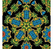Psychedelic jungle kaleidoscope ornament 24 Photographic Print