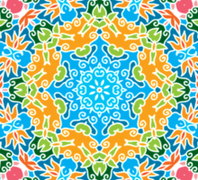 Psychedelic jungle kaleidoscope ornament 25 Sticker